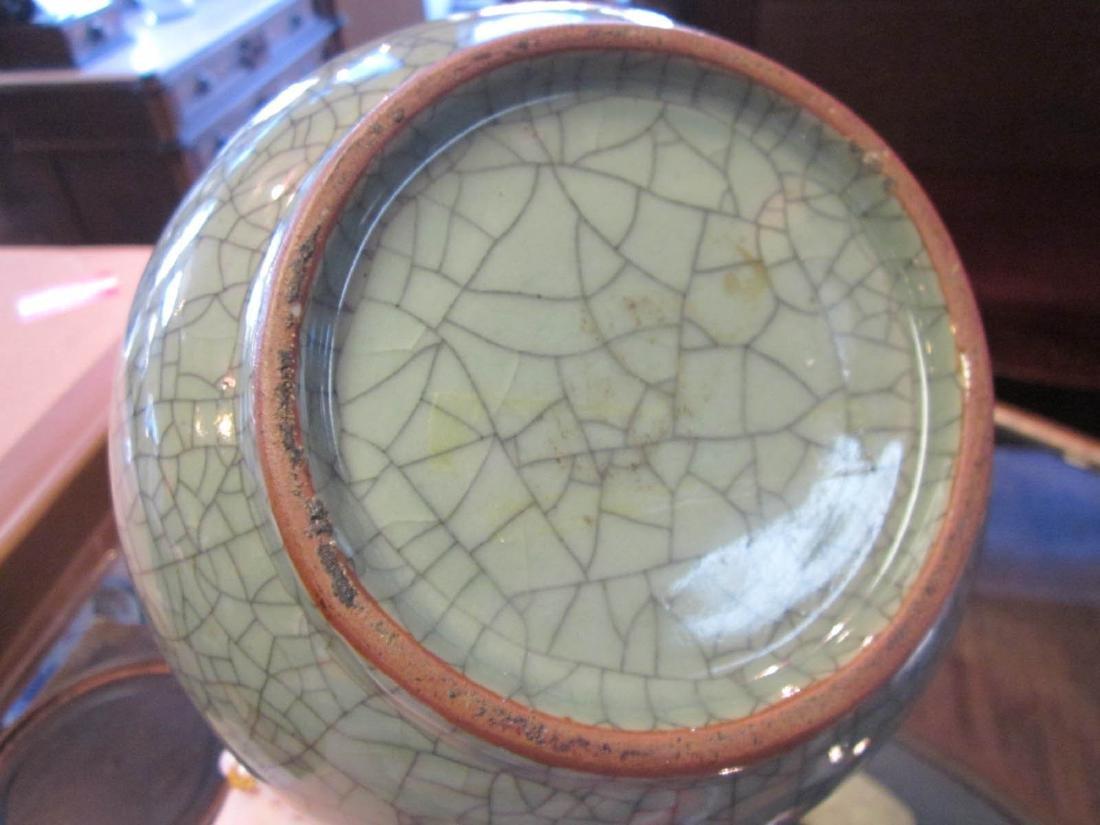 Chinese Crackle-Glazed Celadon Stoneware Vase - 4