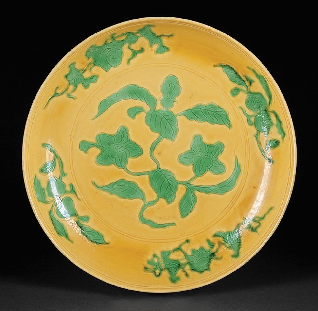 Chinese Green and Yellow Glazed Porcelain Dish