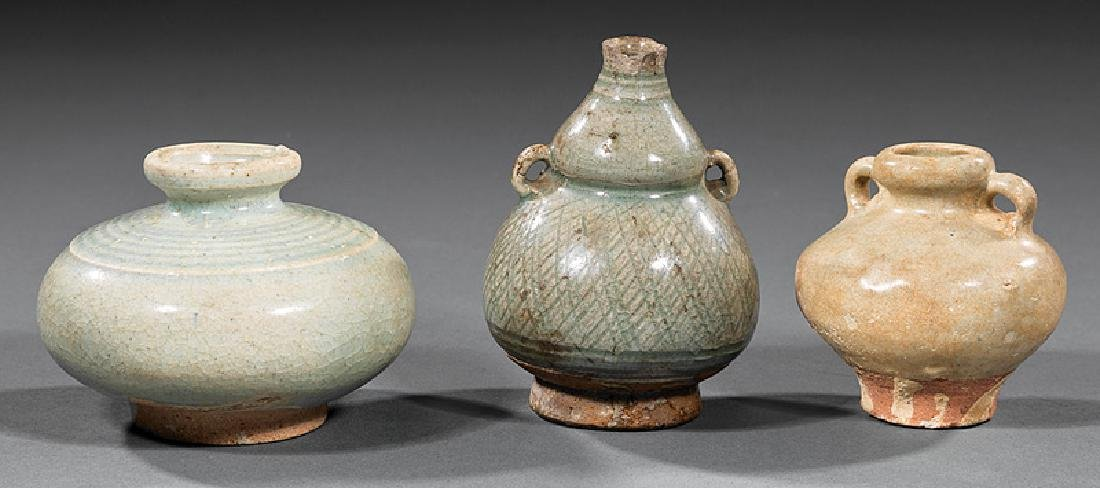Three Chinese Celadon and Qingbai Pottery Vessels
