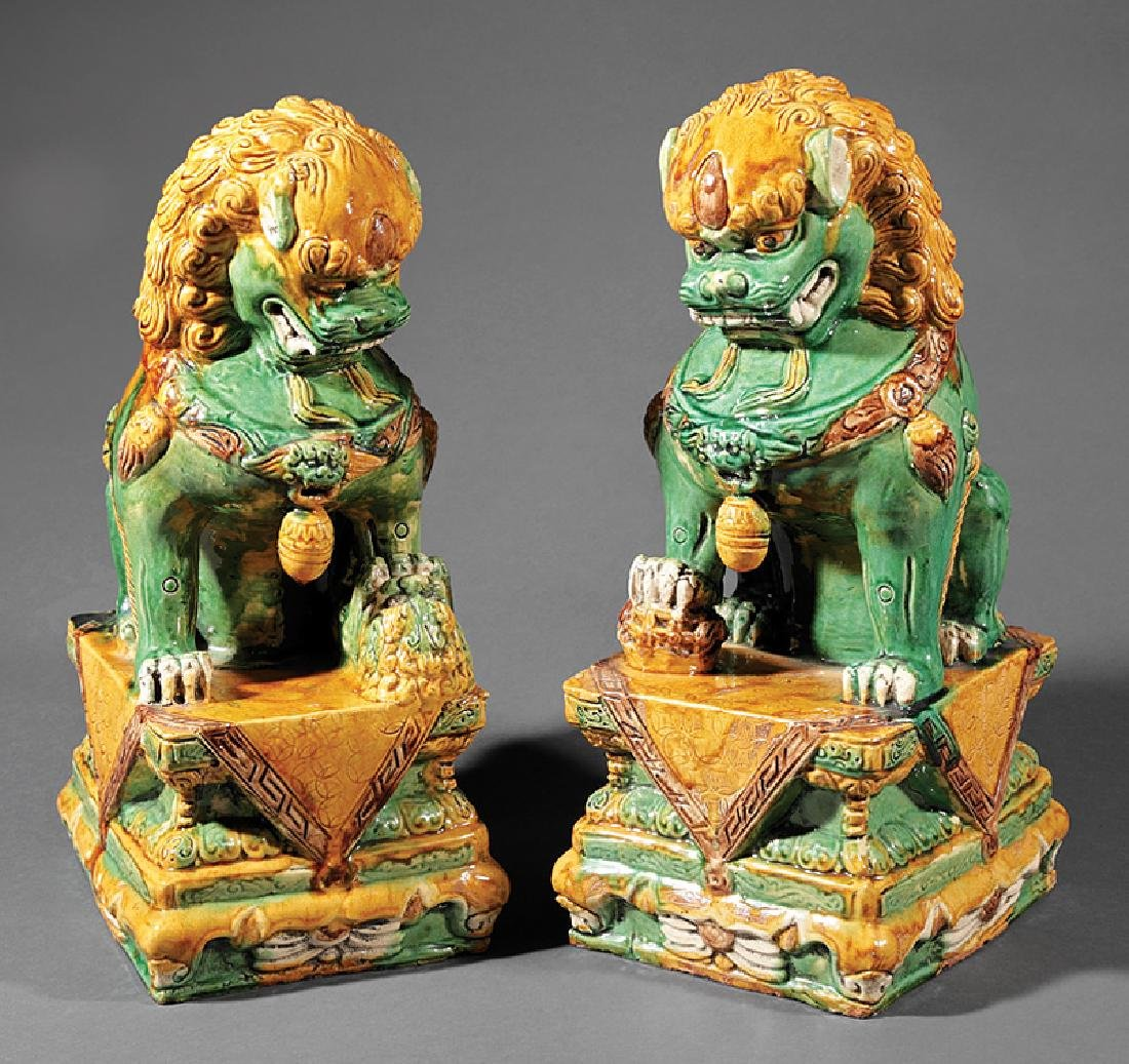 Chinese Green, Ochre Glazed Pottery Budhist Lions