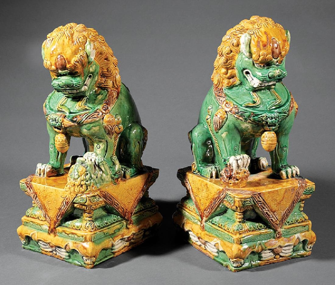 Chinese Green, Ochre Glazed Pottery Budhist Lions - 2