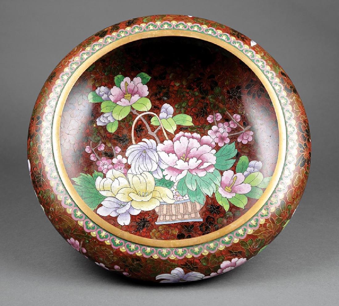 Large Japanese Cloisonne Enamel Bowl - 2