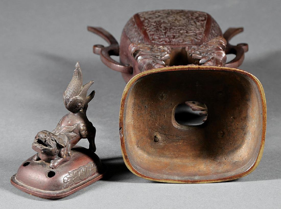 Chinese Bronze Covered Censer - 3