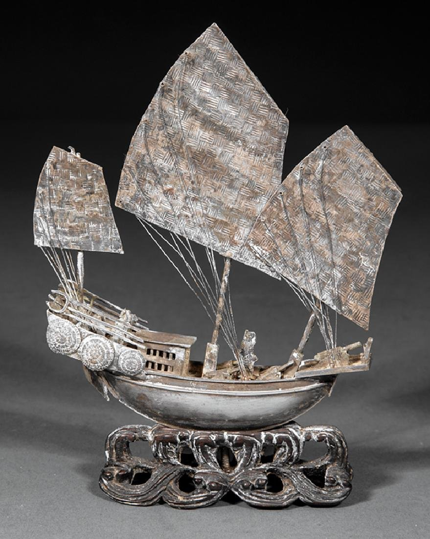 """Chinese Silver """"Junk"""" Boat"""