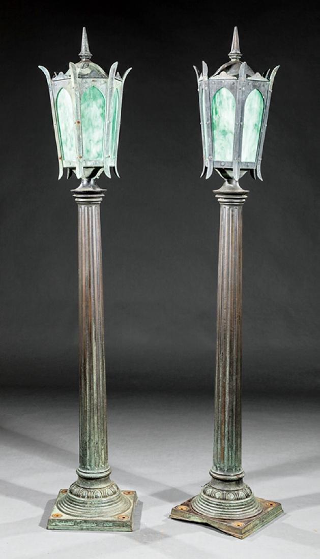 American Bronze and Slag Glass Floor Lamps
