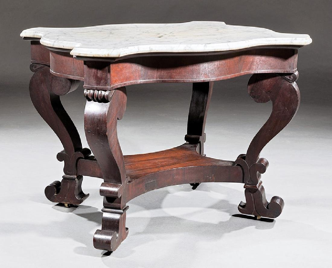 American Late Classical Carved Rosewood Center Table