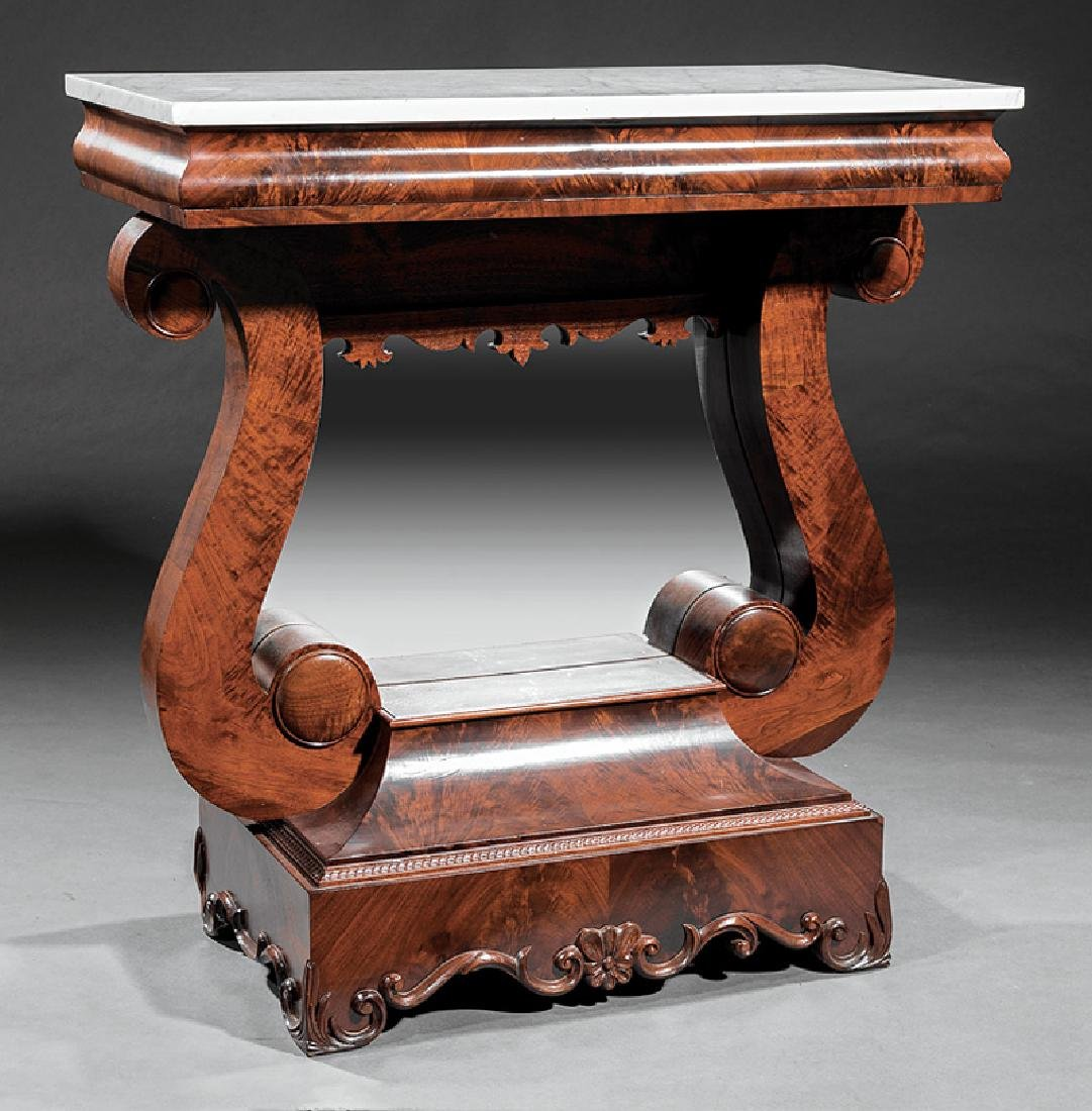 Late Classical Carved Mahogany Pier Table