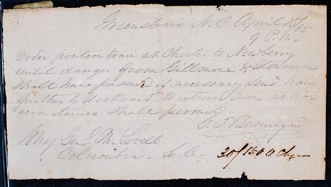 General Beauregard Autograph Order