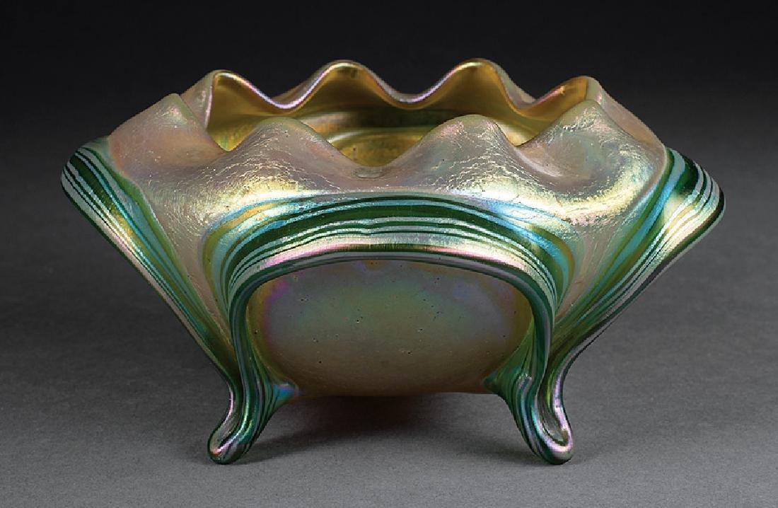 Green Iridescent Art Glass Bowl attr. Loetz
