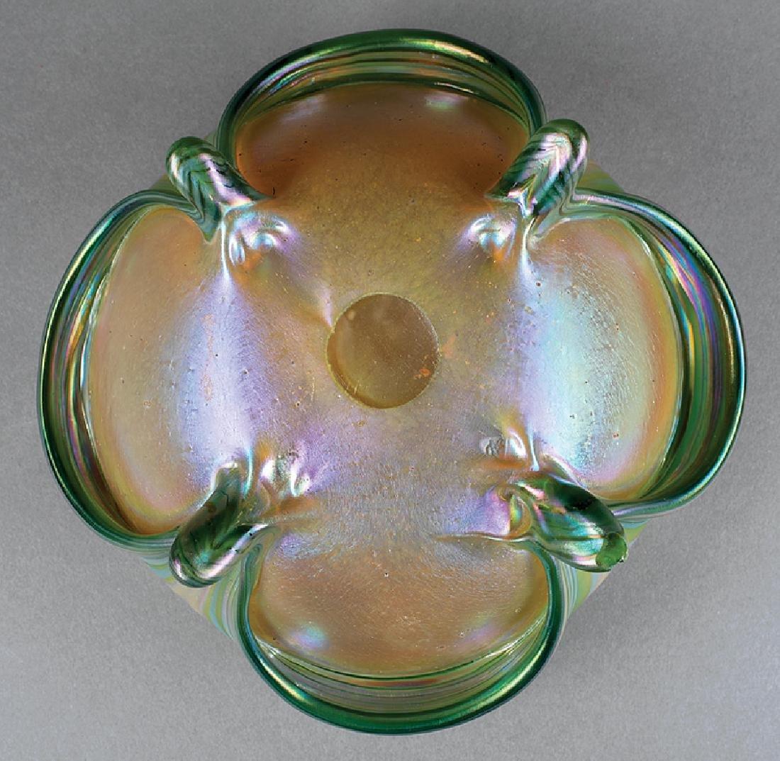 Green Iridescent Art Glass Bowl attr. Loetz - 3