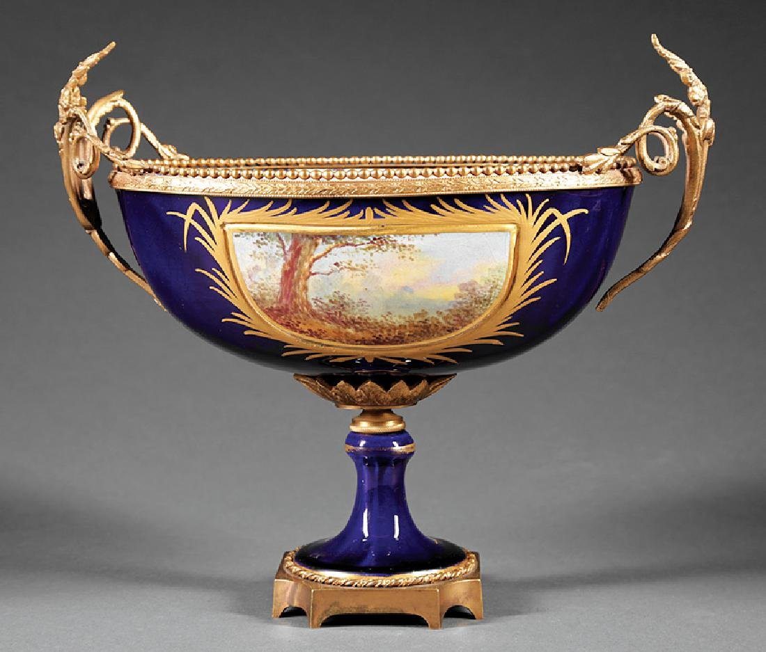 Gilt Bronze-Mounted Sevres-Style Porcelain Bowl - 2