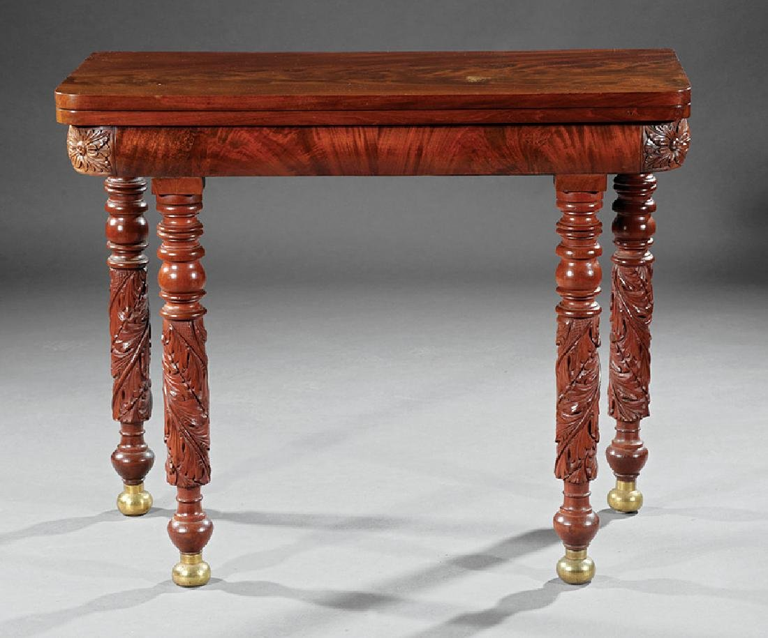 American Classical Carved Mahogany Games Table - 2