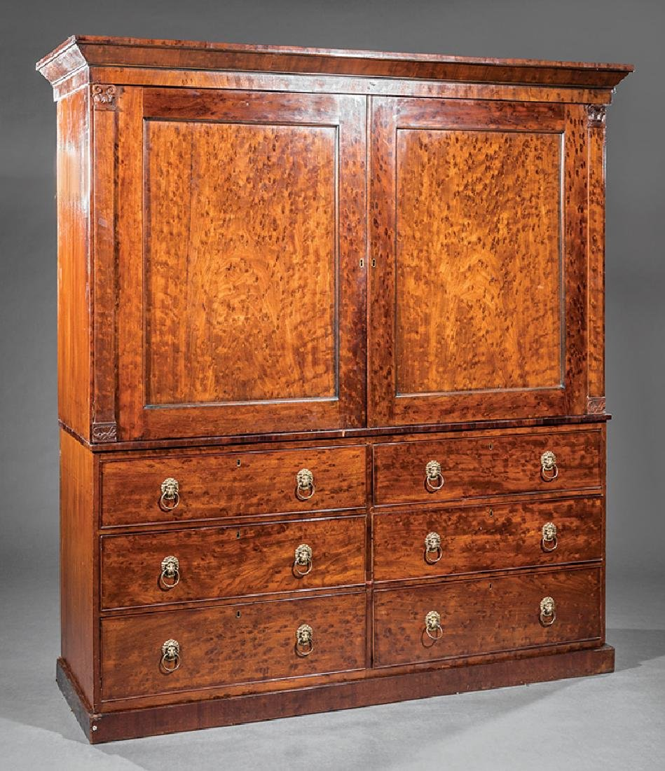 George IV Figured Mahogany Linen Press