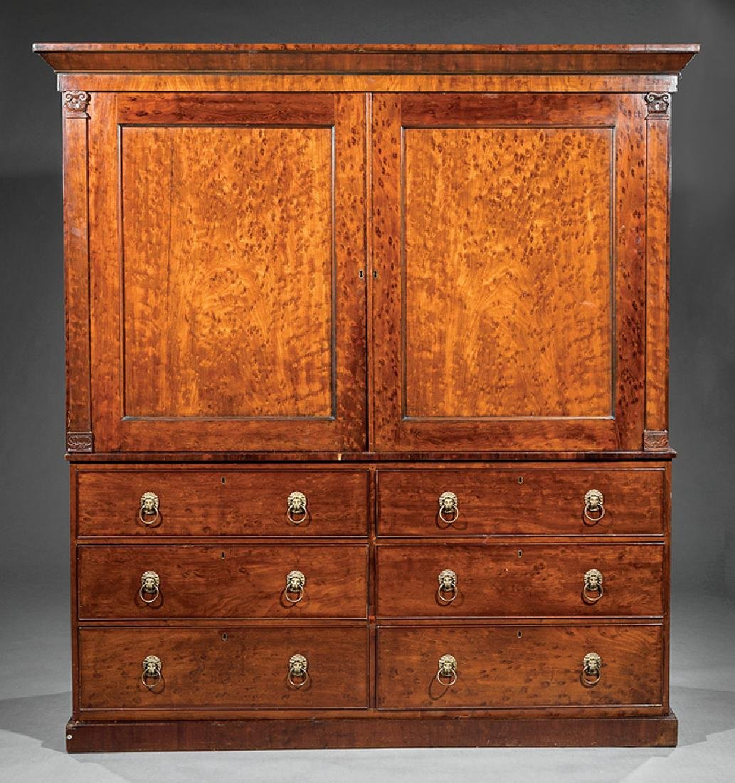 George IV Figured Mahogany Linen Press - 3