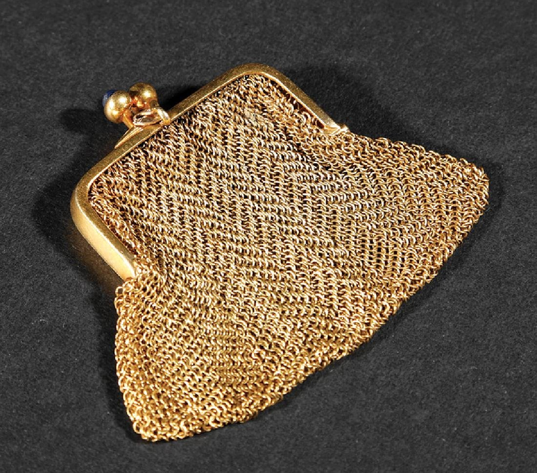 Gold, Gold Mesh and Cabochon Sapphire Coin Purse