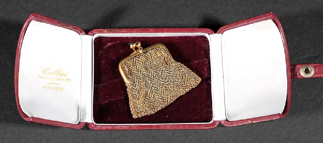 Gold, Gold Mesh and Cabochon Sapphire Coin Purse - 2