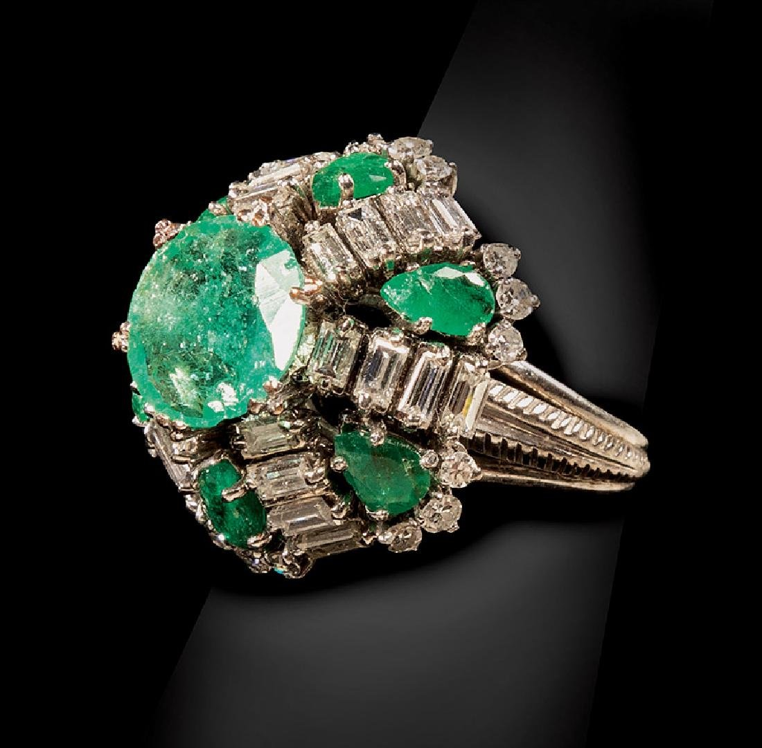 14 kt. White Gold, Emerald and Diamond Dome Ring