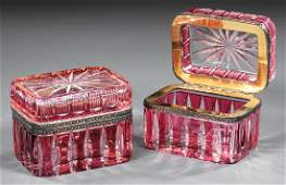 Pair of French Cranberry Cut-to-Clear Glass Boxes
