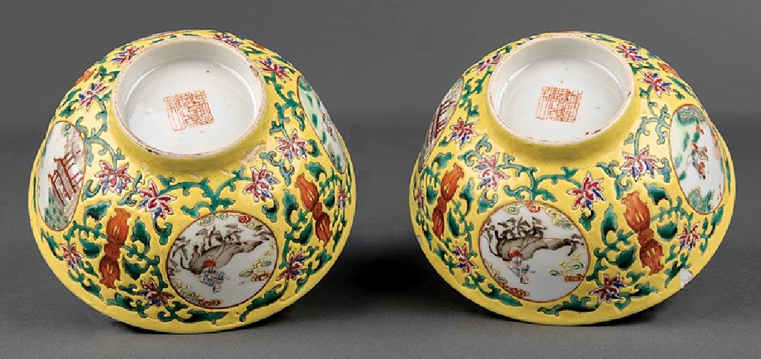 Pair of Chinese Famille Jaune Porcelain Bowls - 3
