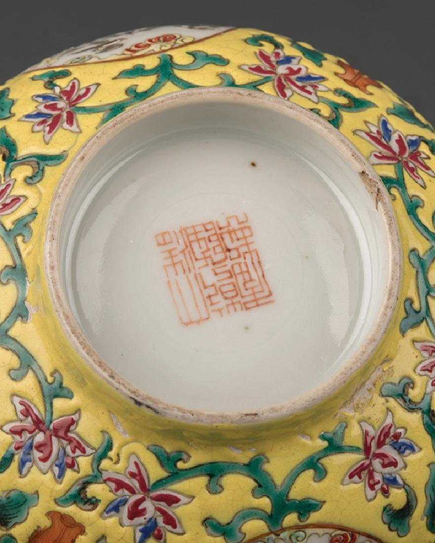 Pair of Chinese Famille Jaune Porcelain Bowls - 4