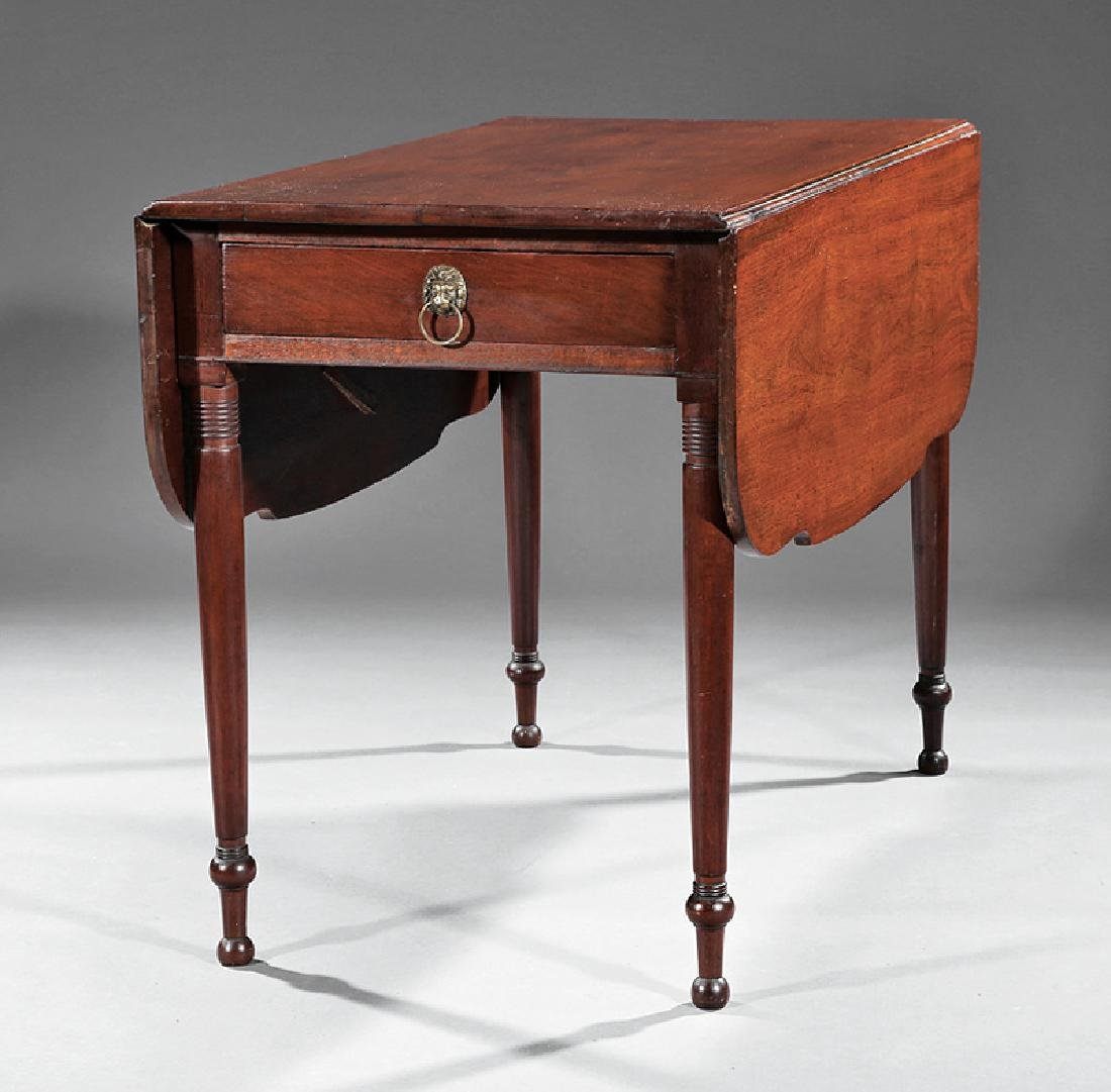 American Federal Carved Mahogany Drop-Leaf Table