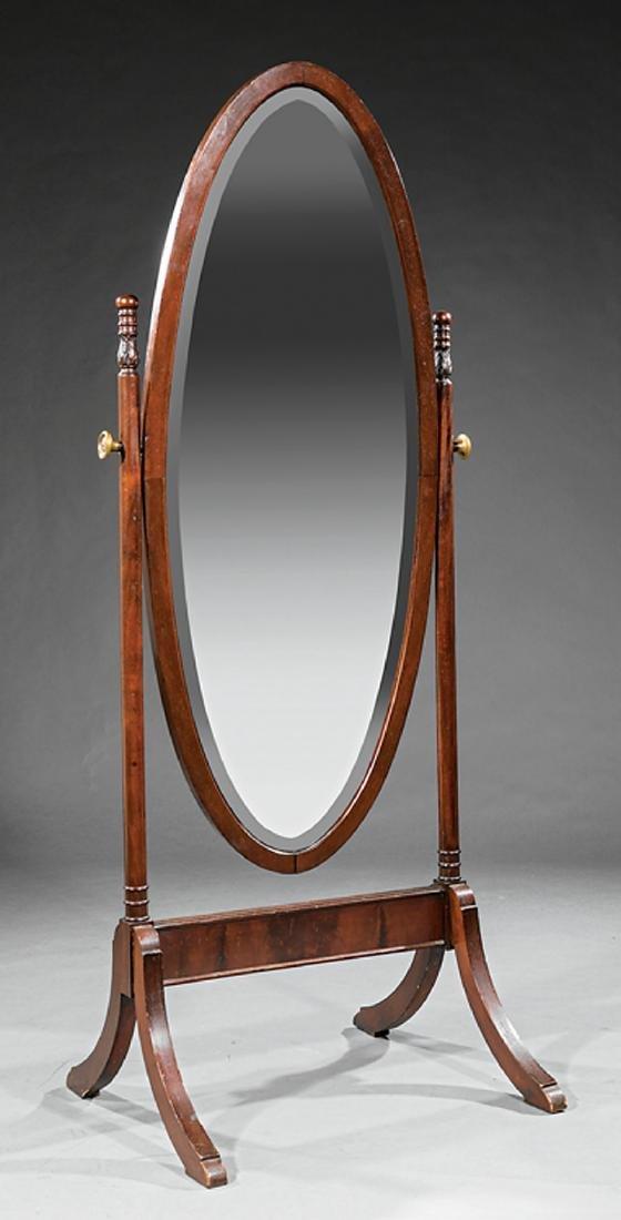 Georgian-Style Carved Mahogany Cheval Mirror