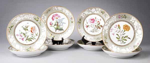 0001: Eight Spode Porcelain Soup Plates