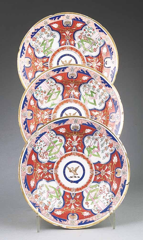 0003: Three Chinese Export Armorial Porcelain Soup Plat