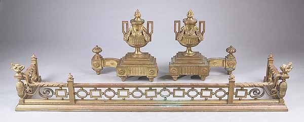 0005: Pair Louis XVI-Style Gilt Bronze Chenets