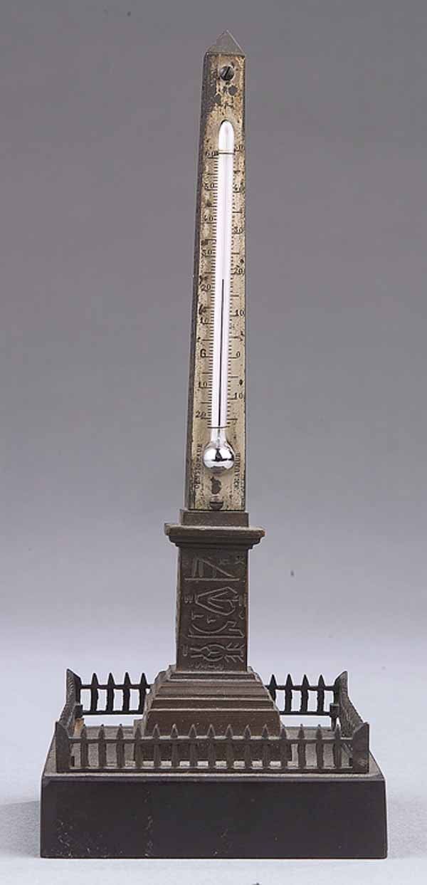 0007: Continental Grand Tour Bronze Obelisk Thermometer