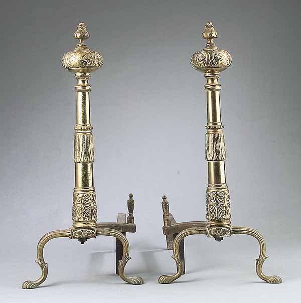 0008: Antique Renaissance-Style Brass and Iron Andirons