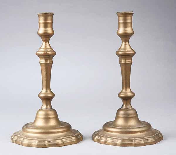 0009: Pair of Antique French Brass Candlesticks