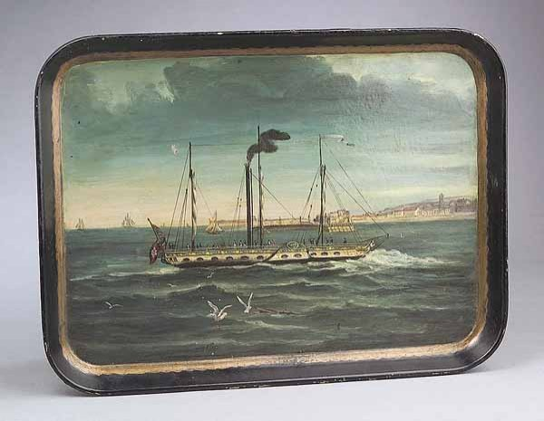 0019: Good English Maritime Pianted Wood Tray, c. 1840