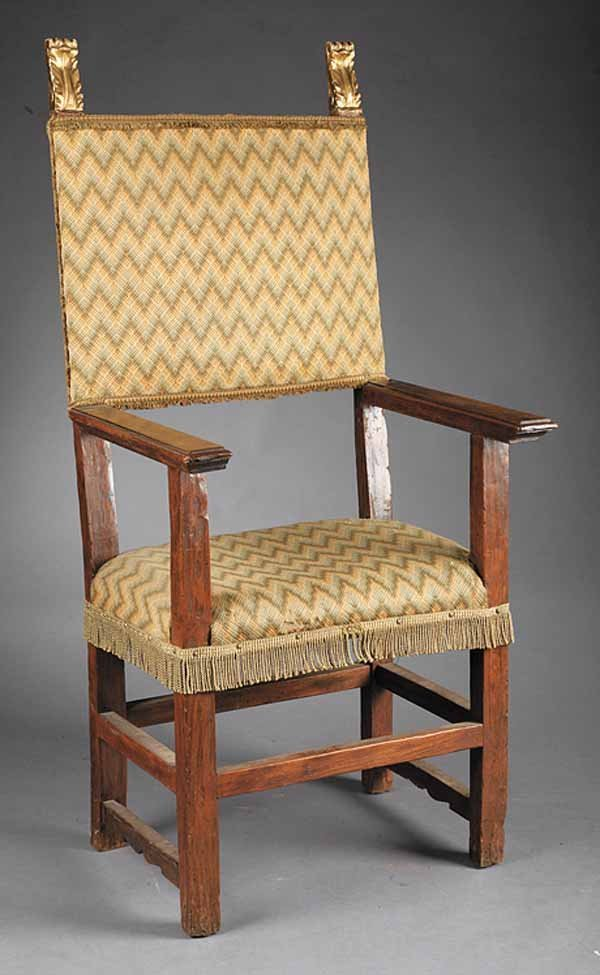 0024: Antique Italian Walnut Armchair