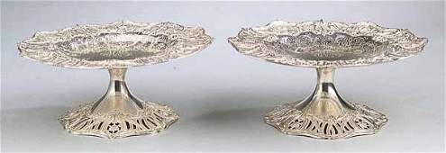 0145 Pair Bigelow Kennard  Co Sterling Silver Tazza