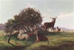 0295 American oil on canvas Deer in Landscape