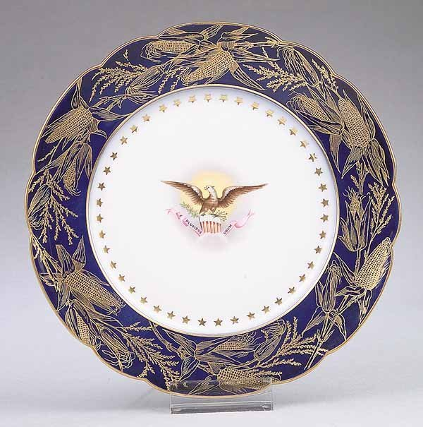 0393: Limoges Dinner Plate from Pres. Benjamin Harrison