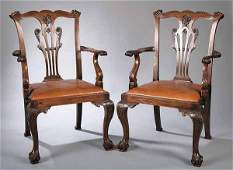 0516: Eight George III-Style Carved Mahogany Dining Ch