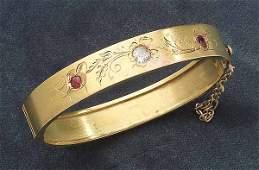 0636 Victorian Yellow Gold Ruby and Diamond Bangle B