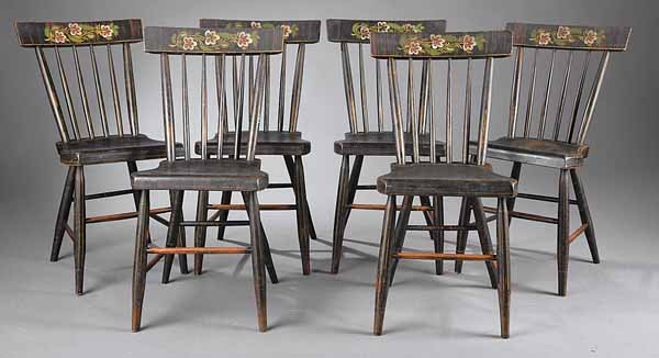 0728: Set of Six Americanv Painted-Decorated Side Chair