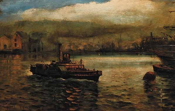 0732: F.S. Hull, oil on wood panel, signed