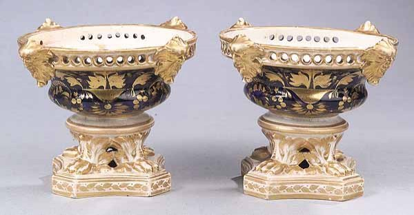 0741: Pair English Crown Derby Cobalt, Gilt-Decorated J