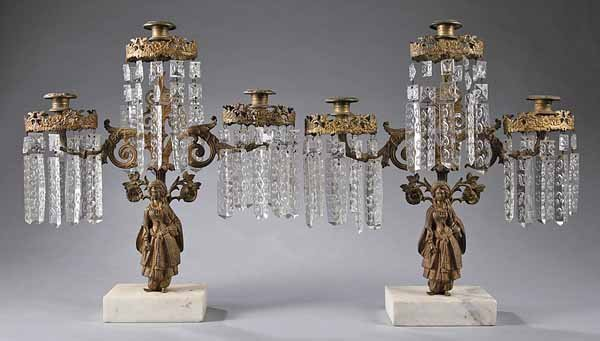 "0742: Pair ""Sultana"" Model Gilt Brass Three-Light Giron"