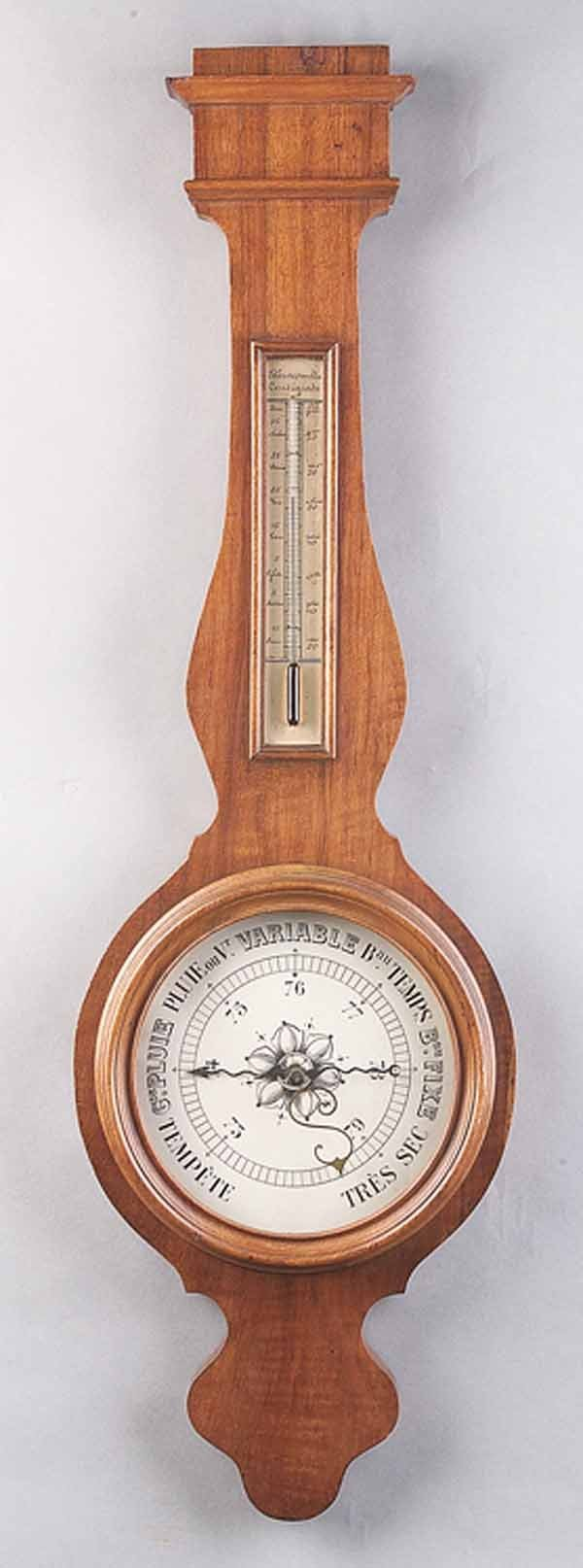 0744: Antique French Provincial Walnut Barometer