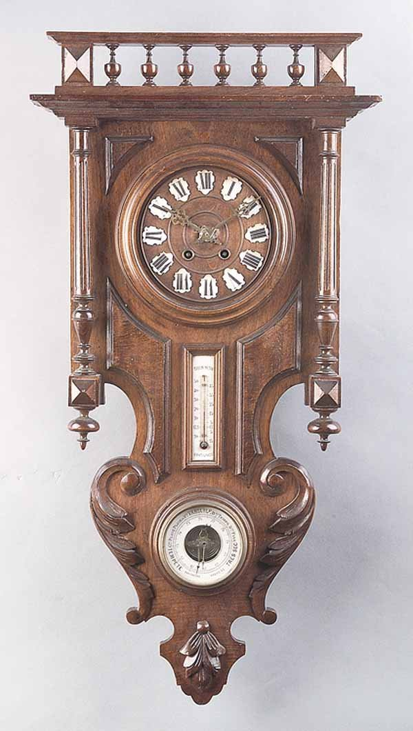 0745: Antique Alsatian Carved Walnut Barometer/Compendi