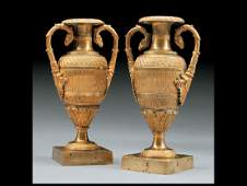 Pair of Charles X Gilt Bronze Amphora Vases