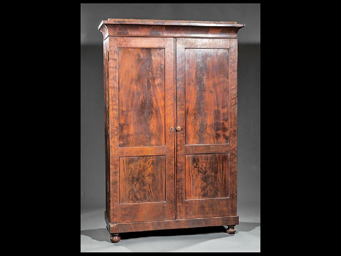 American Late Classical Figured Mahogany Armoire