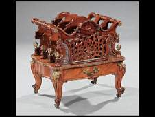 Bronze-Mounted Carved Rosewood Canterbury