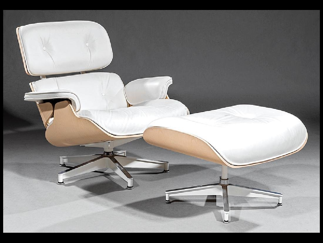 Eames for Herman Miller White Ash Chair & Ottoman