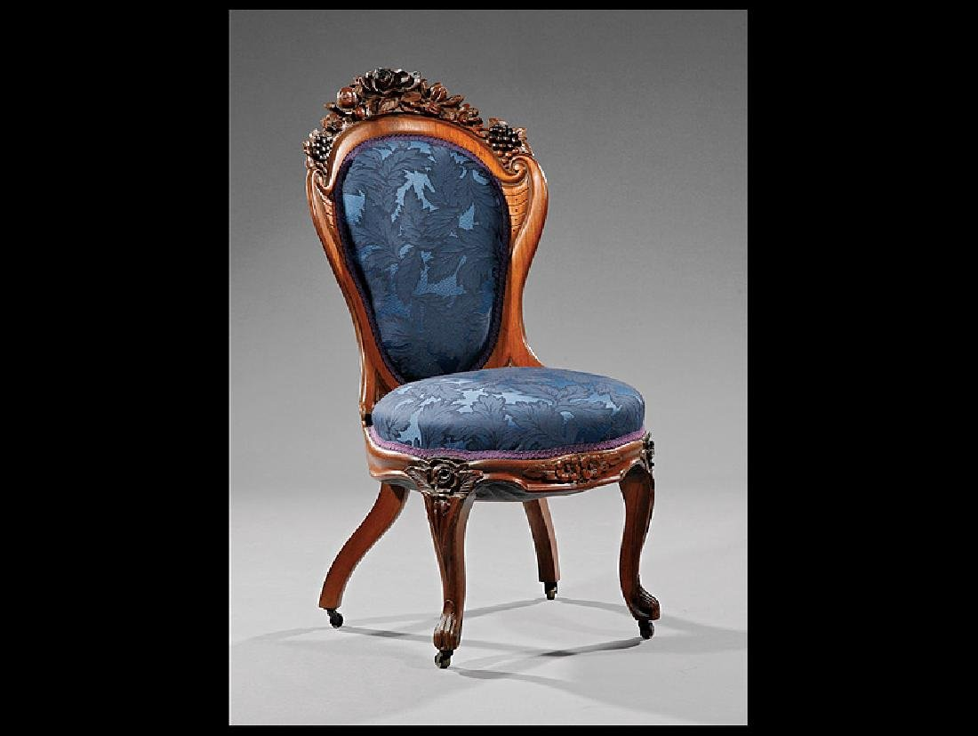 Carved Laminated Rosewood Side Chair attr. Belter